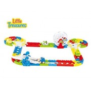 Little Treasures Beginner smart tracks colored building block pieces for a complete toy car track - with turns crossing seesaw toy cars gateways roundabout wheel and amazing lights and sound effects fun toy set