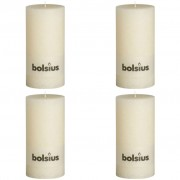 Bolsius Rustic Pillar Candles 4 pcs 200x100 mm Ivory White