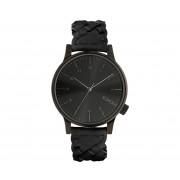 Komono horloge Winston zwart gevlochten leder