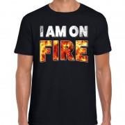 Bellatio Decorations Halloween I am on fire verkleed t-shirt zwart voor heren