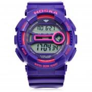 HOSKA H015B Digital Niños Del Reloj Del Deporte 3ATM Cronómetro Alarma Fecha Día Reloj LED (Púrpura)