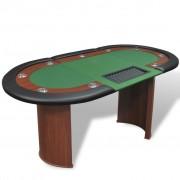 Sonata Покер маса за 10 играчи с дилър зона и табла за чипове, зелена