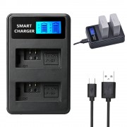 LP-E5 Battery Double-Bay USB Charger with LCD Display for Canon EOS 1000D 450D 500D etc