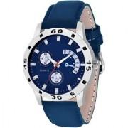 Lava Creation Avio Stylish Chronograph Pattern Blue Leather Strap Watch - For Men ( Avio Blue)