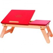 IBS Rred Matte Finish With Drawer Solid Wood Portable Laptop Table (Finish Color - RED)