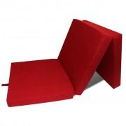vidaXL háromrét összehajtható piros matrac 190 x 70 x 9 cm