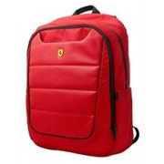 Ferrari Pit Stop Collection New Scuderia Extra Large Red Nylon PU Carbon Leather Backpack with Black Piping- Suitable for Laptops up to 15.6 inch