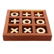 Purpledip Wooden Tic-Tac-Toe (Noughts & Crosses) Game Set: Great Travel Gift for Kids Or Adults (11281)