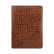 Mock Croc Leder Konferenzmappe in Dunkelbraun - Dokumententasche, Aktenmappe, Ringbuchmappe, Dokumentenmappe