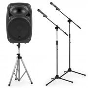 """Auna Streetstar 12 Set de equipo PA portátil de 12"""" Soporte para altavoces PA 2 trípodes para micrófono (PL-31567-11597-3858)"""
