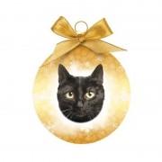 Geen Fout kerstkado dieren kerstbal kat/poes zwart