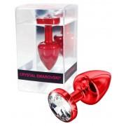 DIOGOL Anni - fehér köves análkúp - piros (2,5cm)
