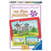 Puzzle animale, 3x6 piese
