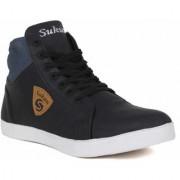 Sukun Mens Black Lace-up Sneakers