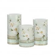 Set de 3 lumanari decorative cu iluminat LED, Flori albe