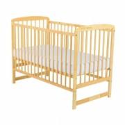 Patut din lemn BabyNeeds - Ola 120x60 cm Natur + Saltea 8 cm