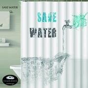 Cortina Teflon Estampada Ojales Antioxido SAVE WATER