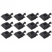 vidaXL Градински соларни лампи, 12 бр, LED, квадратни, 12 см, черни