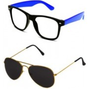 Barbarik Aviator, Wayfarer Sunglasses(Black, Clear)