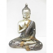 Geen Beeldje mediterende Boeddha zilver 17 cm
