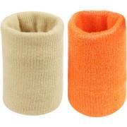 Neska Moda Unisex Beige And Orange Pack Of 2 Cotton Wrist Band