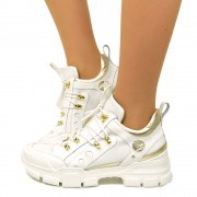 Sneakers Donna Bianche in Pelle Fondo Platform Made in Italy T: 36, 37, 38, 39, 40