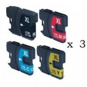 Pack de 12 cartuchos compatibles para Brother LC-980BK/C/M/Y