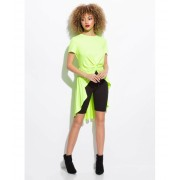CheapChic Here's The Twist Knotted High-low Top Neonyellow