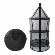 Plegables al aire libre de cuatro capas de malla de almacenamiento bolsa de malla con cremallera - Negro