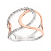 Bague deux ronds bicolores pavés diamants en or blanc