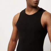 River Island Mens Black muscle fit vest (Size L)
