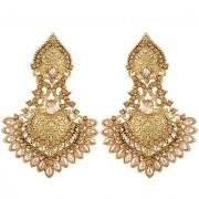 Asmitta Fine Solitaire Pear Shape Designer Gold Plated Dangle Earring For Women