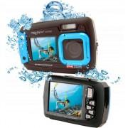 Aparat foto digital AquaPix W1400 Active Waterproof, 20 MPx, Dustproof, Shockproof, Afisare Data, Albastru (Dual Display, Ideal pentru Selfie-uri Sub Apa) + BONUS Husa si Minitrepied Flexibil