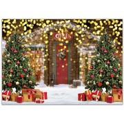 Zhyxia Se acerca la nueva Navidad de 7x5 pies Telón de fondo Brillo al aire libre Bokeh Dots rbol de Navidad y regalo Campo de nieve blanco Fotografía Fondo para la celebración de vacaciones familiares