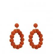 Manfield Oranje oorbellen met ronde hangers