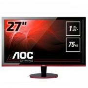 Монитор AOC G2778VQ Gaming 27 инча, Wide TN LED, 1 ms, 1000:1, 80М:1 DCR, 300 cd/m2, FullHD 1920x1080, D-sub, HDMI, DP, Speakers, Черен/Червен, G2778V