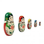 Set of 5 |Handmade|Wooden Channapatna Nesting Dolls - Stacking Nested Wood Dolls for Small Baby Toys