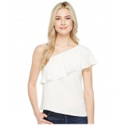 7 For All Mankind One Shoulder Ruffle Top Soft White