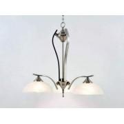 aniba Design Éclairage plafonnier Style 3 en nickel dépoli 3-flamme Hauteur totale 170 cm, Argent/Blanc