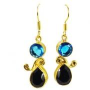 Riyo Blue Topaz Cz Black Onyx 18kt Gold Platings Party Wear Earring L 1.5in Gpemul-52024