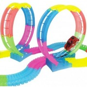 DY 134 PCs Flexible Bendable Glow in the Dark 360 Loop Track Set Toy with 5 Led Lights Racing Car Kit(Multicolor)