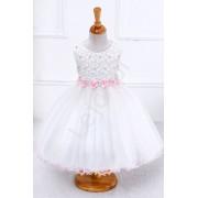 Lejdi Biała sukienka tiulowa z różowymi kwiatkami i perełkami sukienki dla dziewczynek