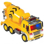 Best Choice Products Friction Powered Push And Go Toy Cement Mixer Construction Vehicle W/ Lights And Sounds