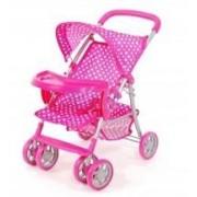 Rózsaszín fehér pöttyös hatkerekű tálcás baba babakocsi