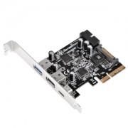 Adaptor Silverstone ECU05 Low Profile de la slot PCI Express 2.0 x2 (10Gbps) la 3x USB 3.1 extern (2x Type-A, 1x Type-C), 1x USB 3.0 intern, alimentare SATA