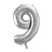 9. szám, fólia lufi, 86 cm, ezüst, tasakban