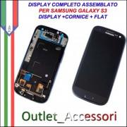 Display LCD Touch Samsung Galaxy S3 Neo Blu I9301 Originale Schermo GT Cornice Flat Blue Pebble Gorilla Glass