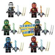Generic 6pcs Decool 10047-10052 Ninja Master YANG General KOZU Pythor Echo Zane mit Samurai X Chaos Building Blocks Bricks Toys juguetes DC10023T28