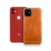 PIERRE CARDIN Genuine Leather Skin Phone Shell for Apple iPhone 11 6.1 inch - Brown