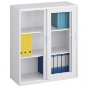ガラス引違い書庫 W900×D400×H1050mm スチール書庫 書棚 オフィス収納 キャビネット オフィス家具